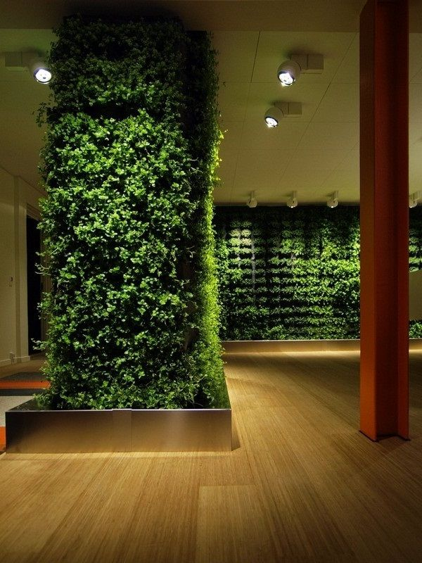 Modern Home Interior Design With Green Wall Ideas And Lighting System In  Venner Wood Floor