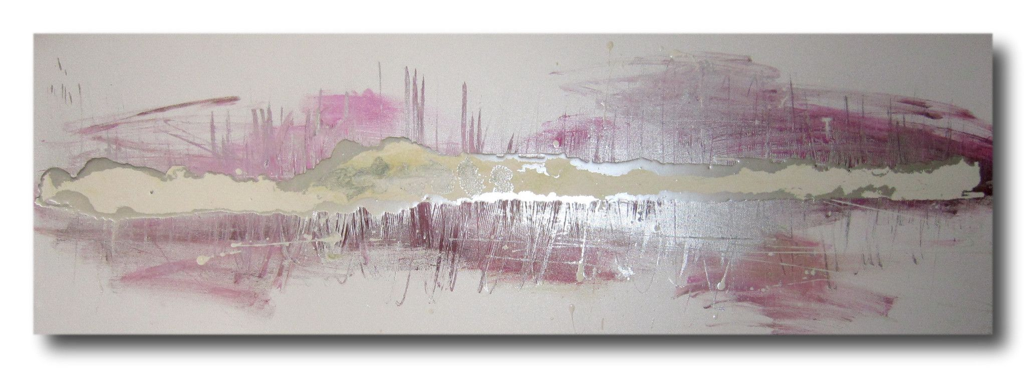 Pink Gold And Silver Abstract Art Huge Canvas Painting Wall White For A 145
