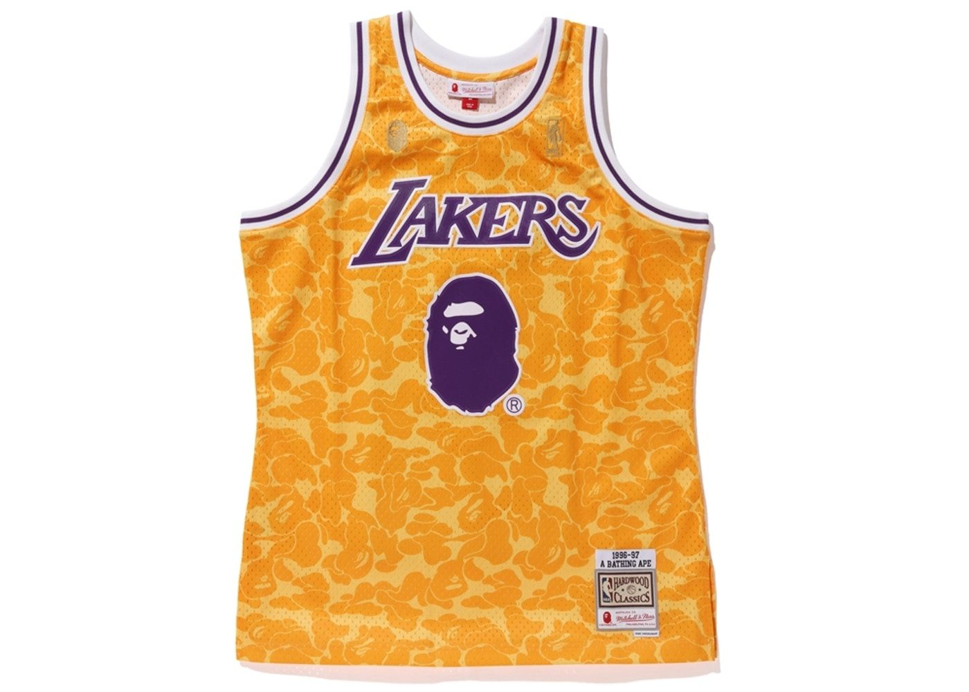 buy popular 1b06a 1a728 BAPE x Mitchell & Ness Lakers ABC Basketball Swingman Jersey ...