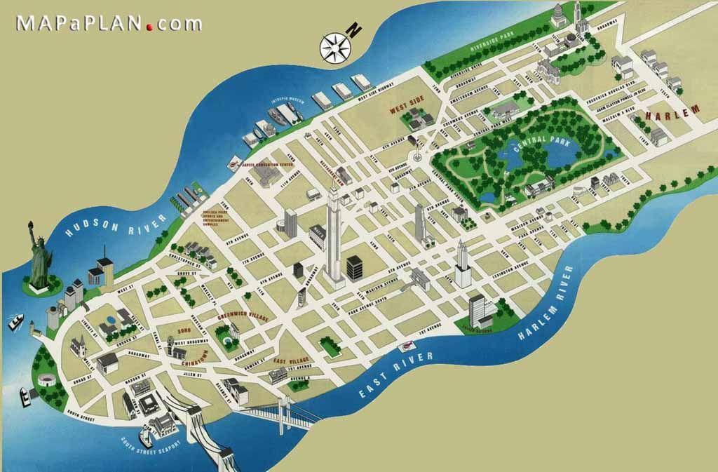 Map Of New York 3d.Manhattan 3d Buildings New York Top Tourist Attractions Map