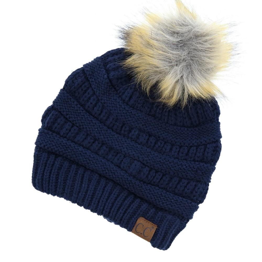 C.C. Beanie Faux Fur Pom Pom en 2019  13541f77198