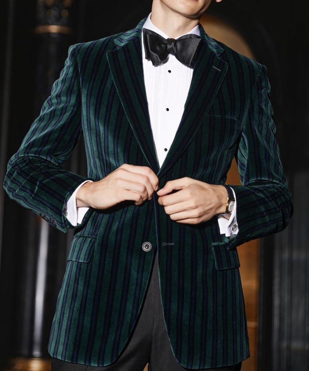 Men Dark Green Velvet Double Breasted Suit Groom Tuxedo Wedding Party Custom