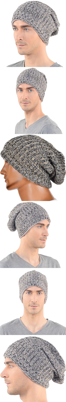 e095d50b938 Men Slouchy Beanie Cap Large Women Knit Beanies Hat Long Skullcap Lined  FORBUSITE