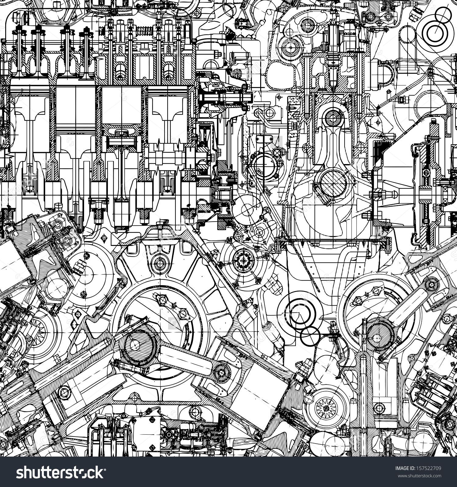 Drawing engine seamless pattern, background. Seamless pattern can ...