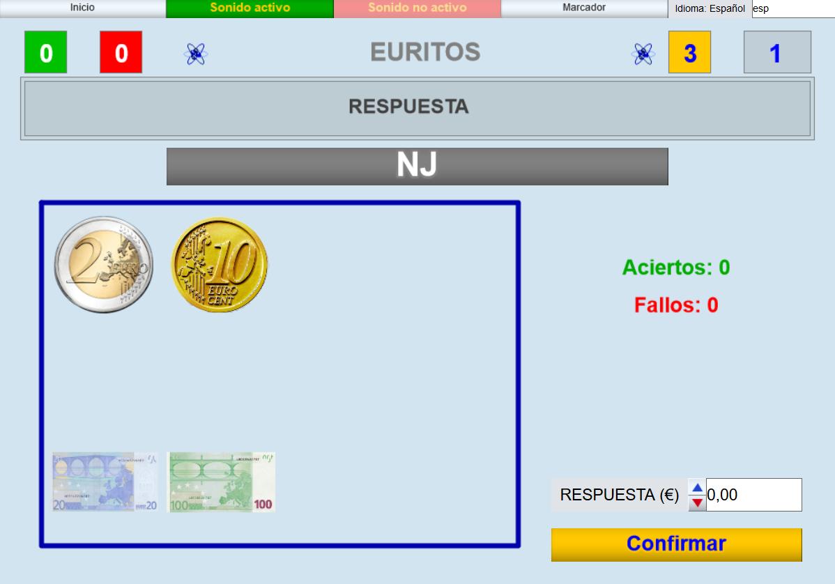 APLICACIÓN DE JUEGOS DIDÁCTICOS EN EL AULA. Juego diseñado para educación Infantil y Primaria consistente en contar monedas y billetes de euro.