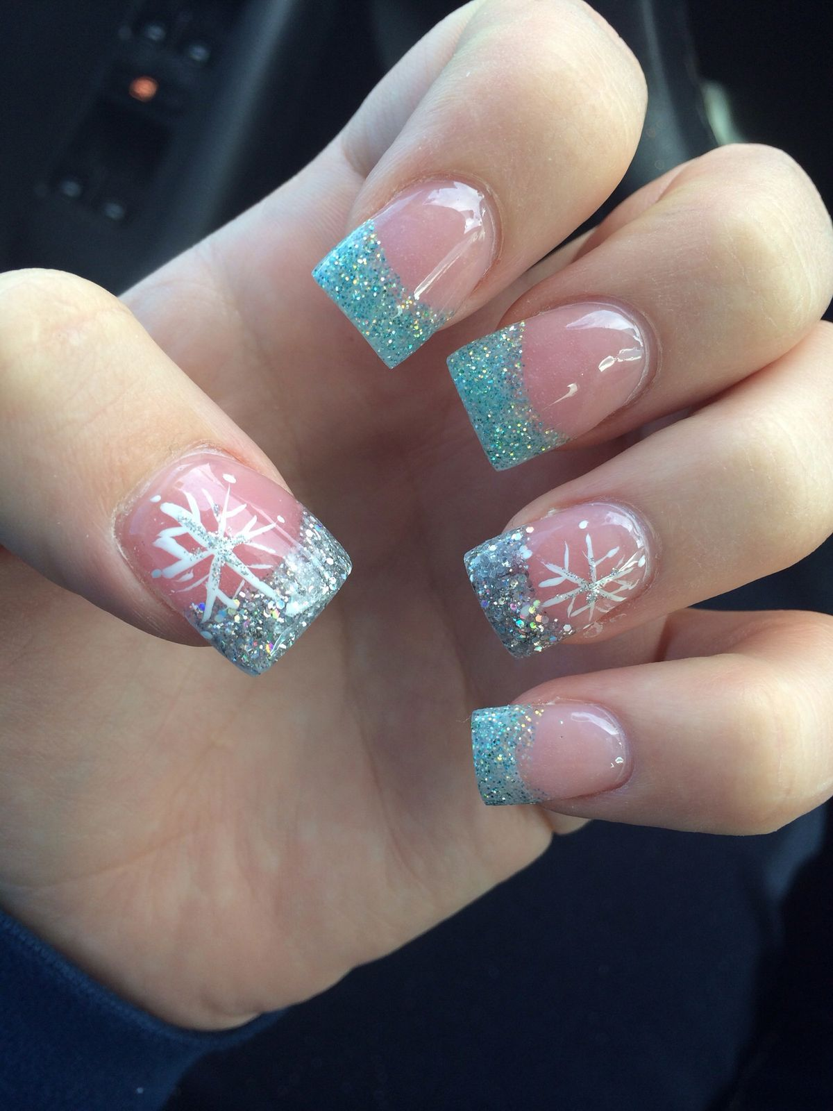Holiday nails current set (baby blue w/snowflakes) - Cc1acce550acd7d81bf623602606947f.jpg 1,200×1,600 Pixels Nails