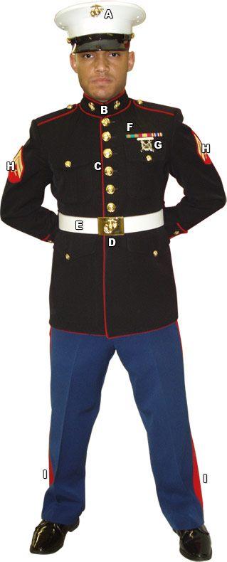 Marines Enlisted Uniform U.S. Marine Dress Unif...