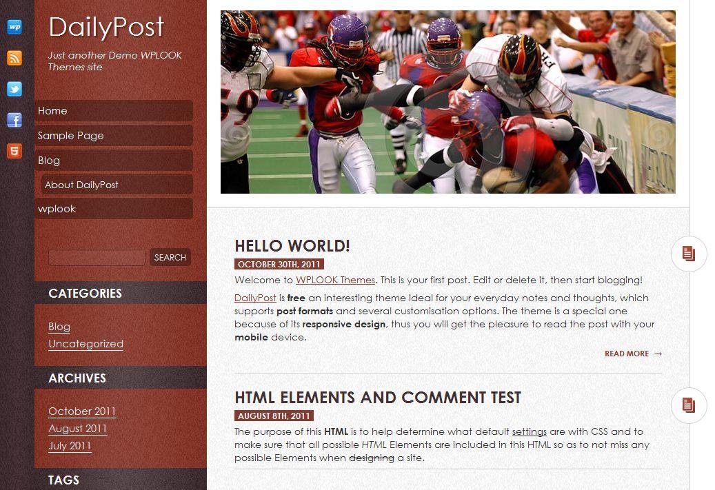DailyPost es un template gratis de WordPress también con diseño elástico (Responsive Web Design) creada por WPlook.