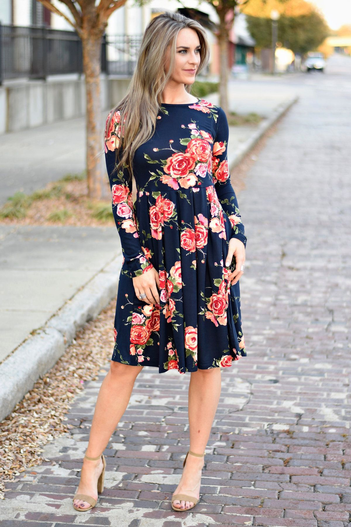 5b4500cb3b71 You will love this Elegant and soft womens floral mid length dress with  hidden pockets!