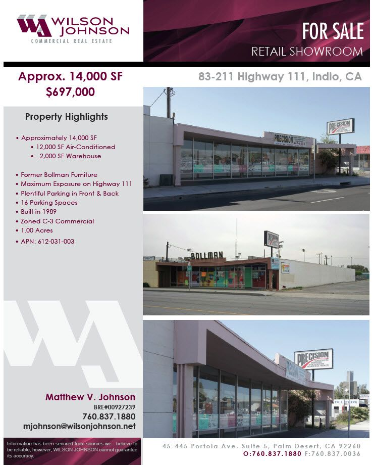 FEATURED LISTING Approx. 14,000 SF for Sale 83211 Hwy
