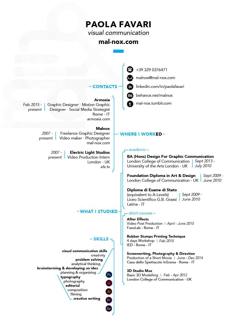 RESUME - CV - creative   creative portfolios, CVs, Resumes   Pinterest
