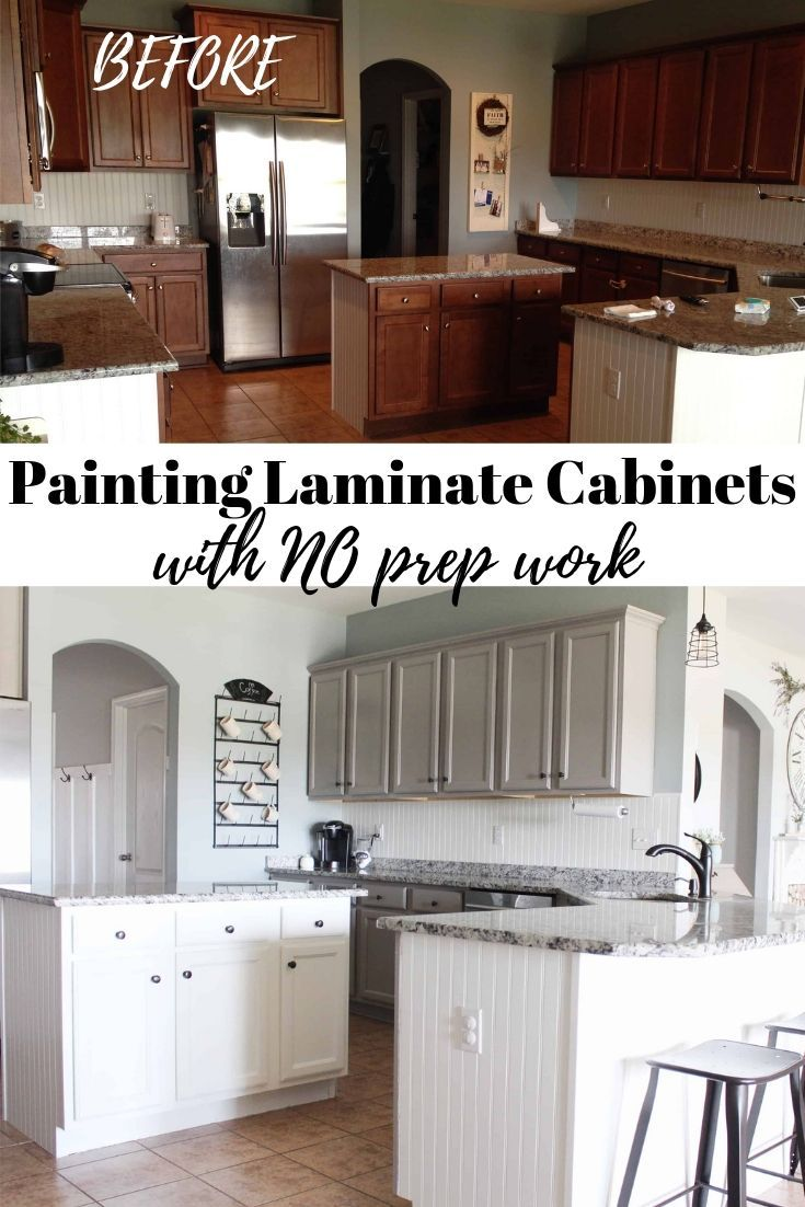 Painting Laminate Cabinets with NO prep work and NO Sanding - Laminate cabinets, Painting laminate cabinets, Painting laminate kitchen cabinets, Laminate kitchen cabinets, Painting laminate, Cheap kitchen cabinets - A step by step tutorial on how to paint laminate cabinets with little to no prep work  This technique involves using primer but no sanding