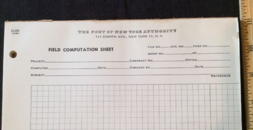 vintage engineering drafting graph paper w the port of new york