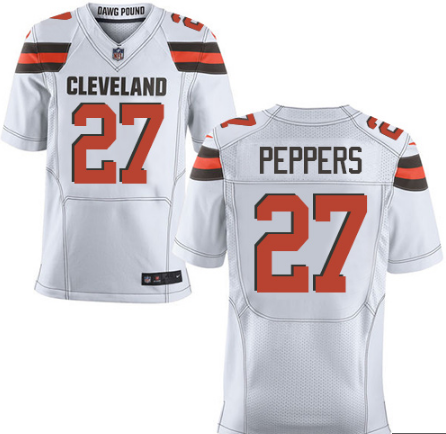 0672869e2a5 Men s Cleveland Browns  27 Jabrill Peppers White Nike NFL Elite Jersey