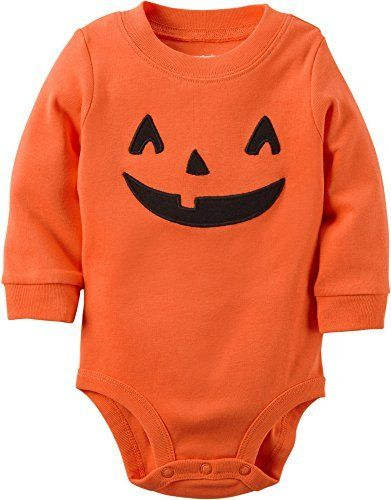 your little pumpkin will look adorable this halloween wearing this carters embroidered jackolantern bodysuit