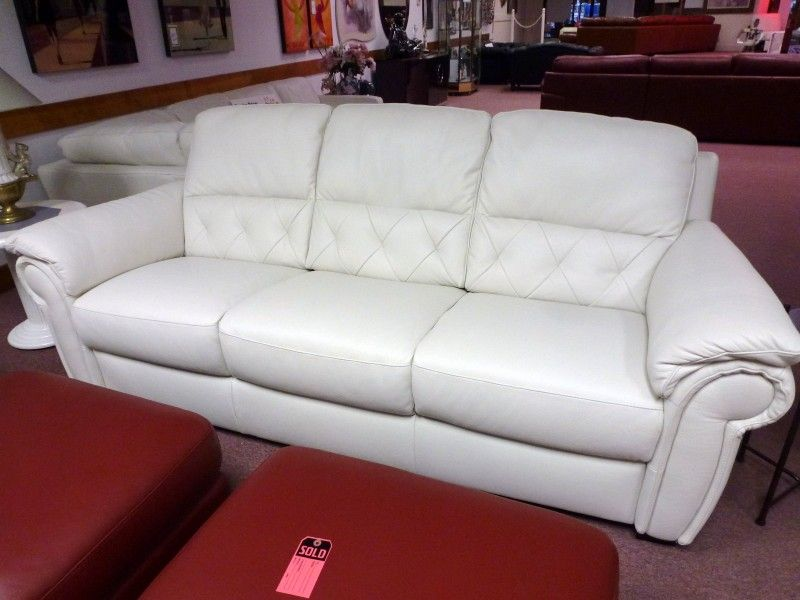Flexsteel Sofa Natuzzi Editions White Leather sofa ONLY B Black Friday furniture Sale Going Out Of Business