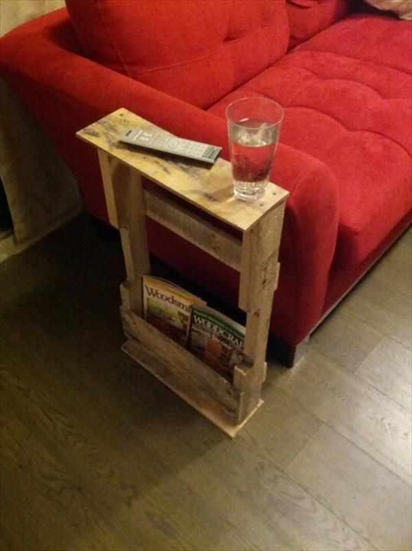 12 Diy Pallet Side Tables End Tables 101 Pallets Pallet Side Table Pallet Furniture Pallet Diy