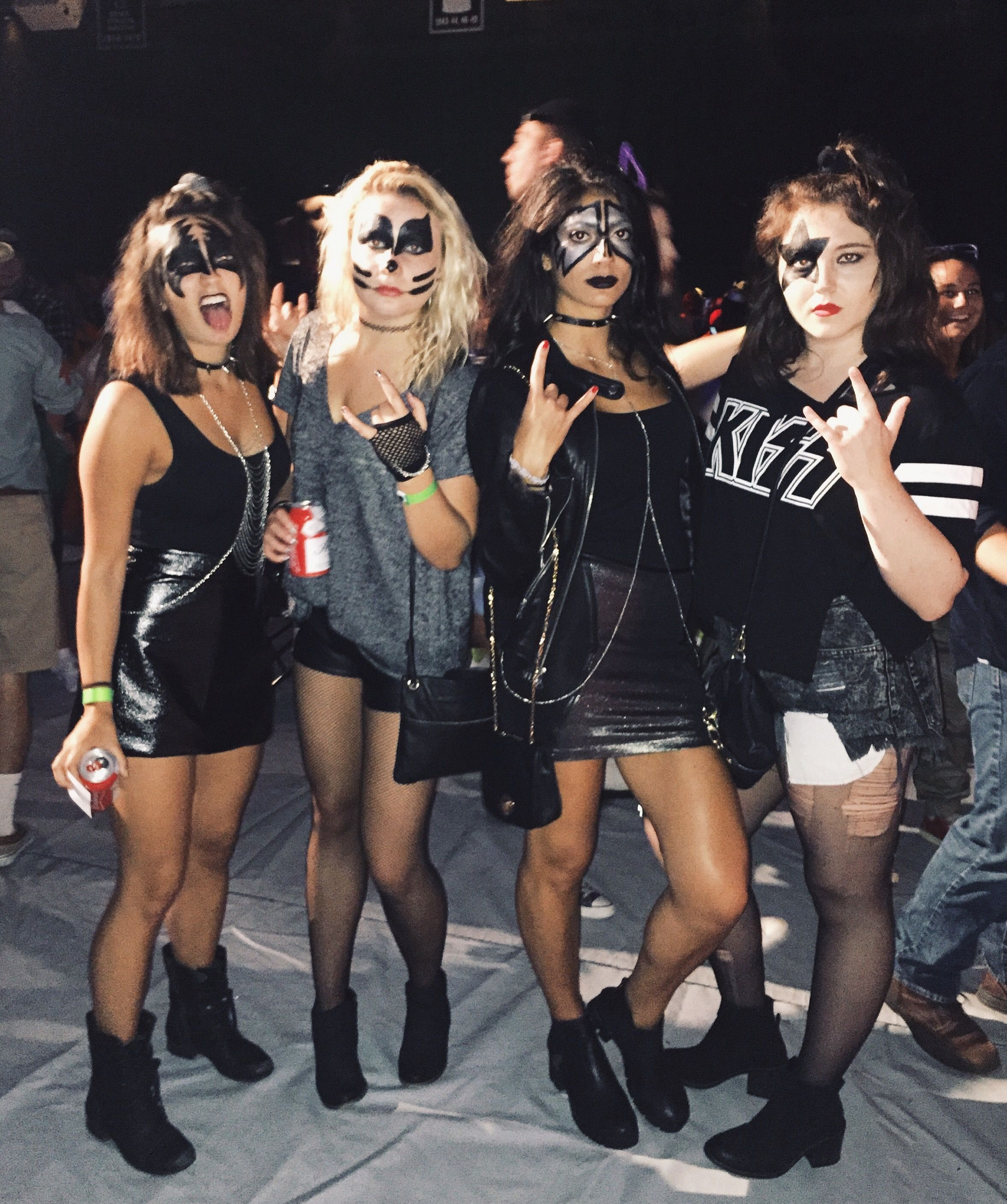 Halloween Costume DIY Group Costume KISS Costume Girls KISS Costume Famous Groups Leather Costume KISS Face Paint College Halloween Costumes  sc 1 st  Pinterest & Halloween Costume DIY Group Costume KISS Costume Girls KISS ...