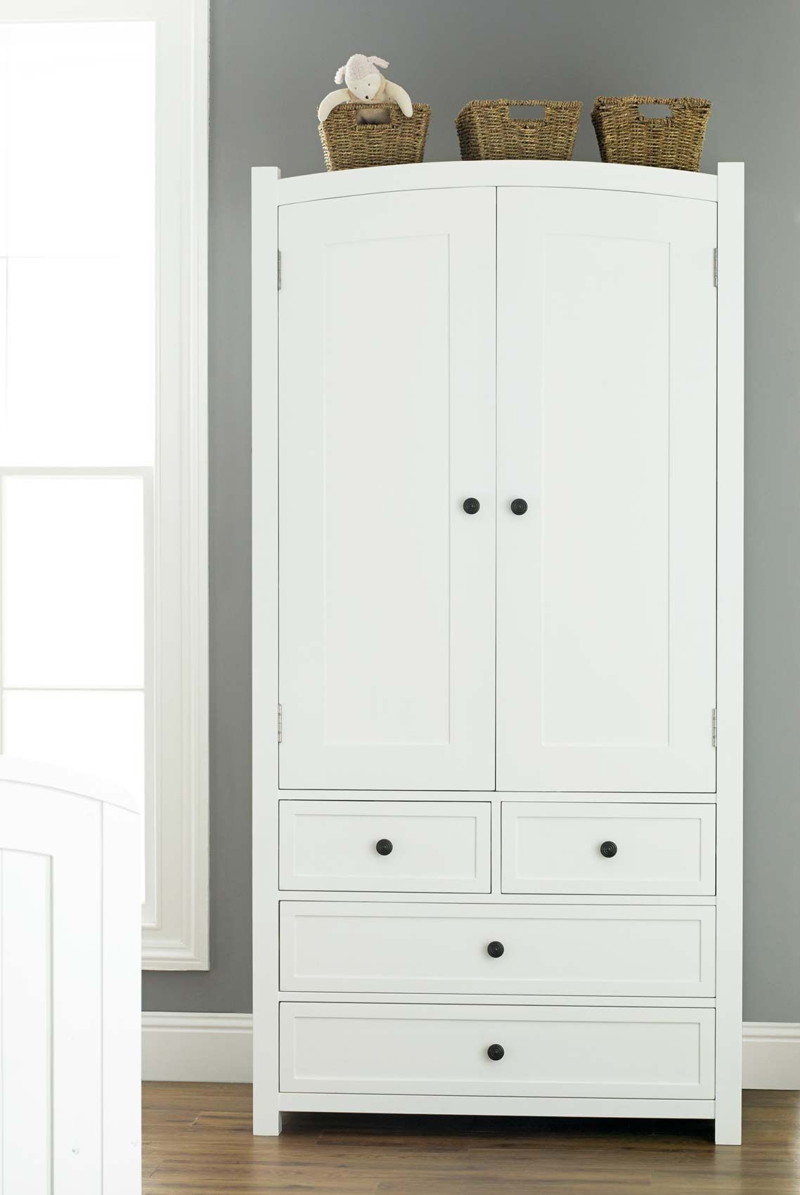 White Wooden Wardrobe With Drawers