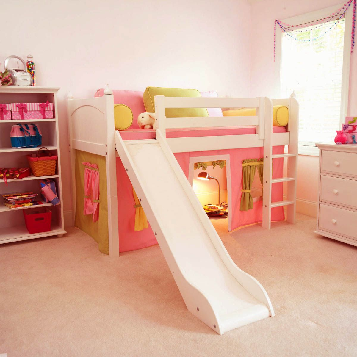 childrens beds with slides. Marvelous Girl Tent Low Loft With Slide - Kids Beds At Furniture Mart Obviously I Would Get The Boy Version. Childrens Slides Z