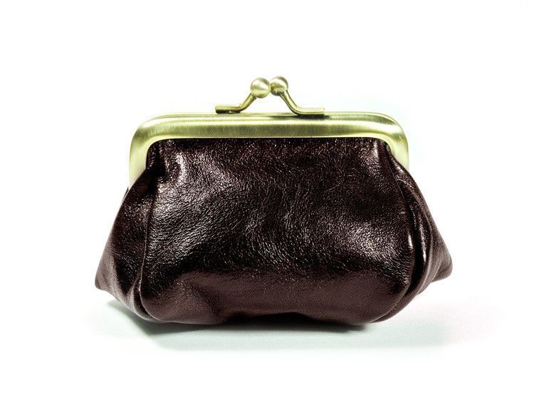 Handmade Genuine Leather Framed Coin Purse Kiss Lock Closure Bag (DarkBrown) new #Handmade #CoinPurse