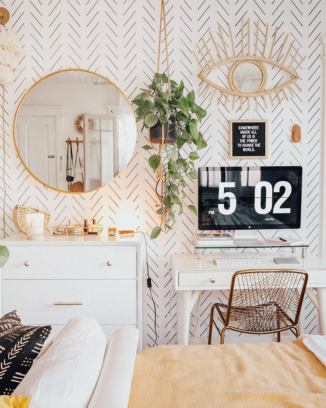 How To Decorate With Removable Wallpaper: Modern Delicate Herringbone Design