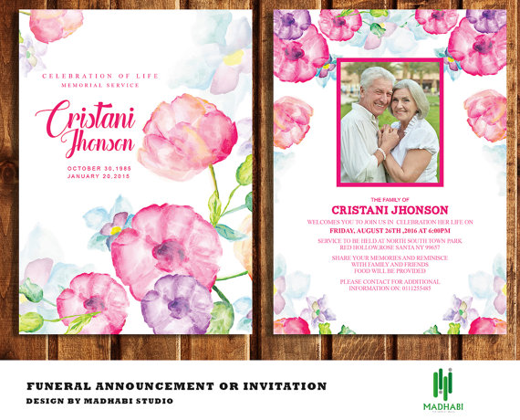 Funeral Invitation or Announcement Card 5x7 Funeral Card Template