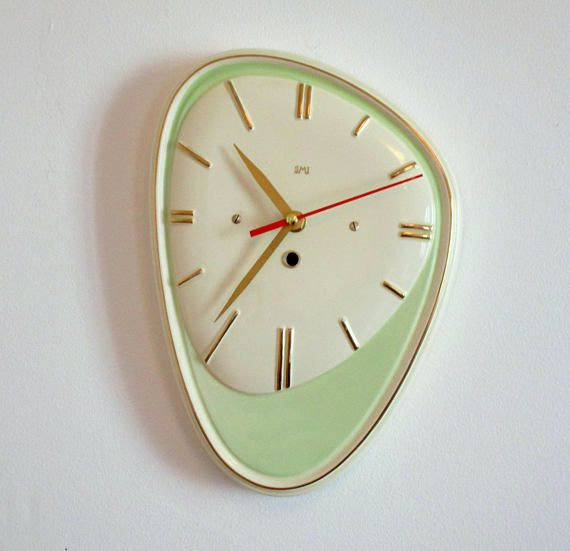French 1950 60s Atomic Age Large Smi Green Wall Clock