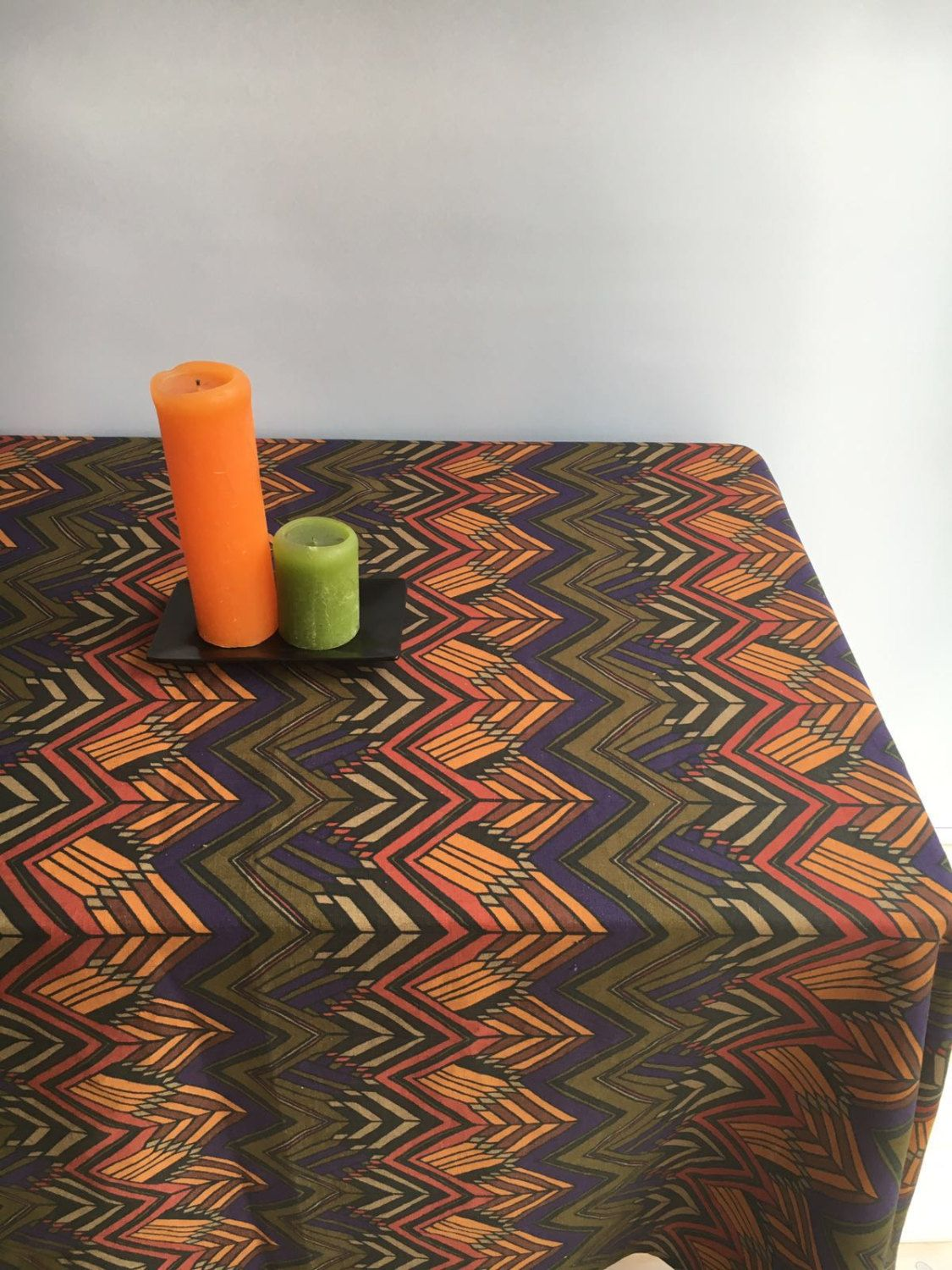 Exceptional Vintage Inspired Tablecloth, Retro Linen Table Cloth, Autumn Tablecloth  1960s Geometric Scandinavian Tablecloth Rectangle