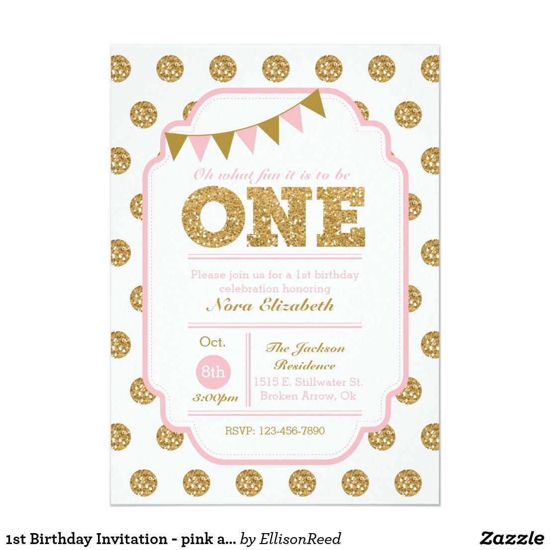 1st Birthday Invitation - pink and gold polka dots | Pinterest ...