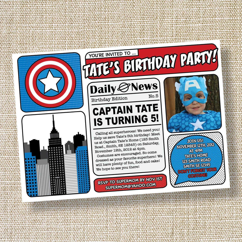 CAPTAIN SUPERHERO Comic Book Inspired Birthday Invitation - Captain ...
