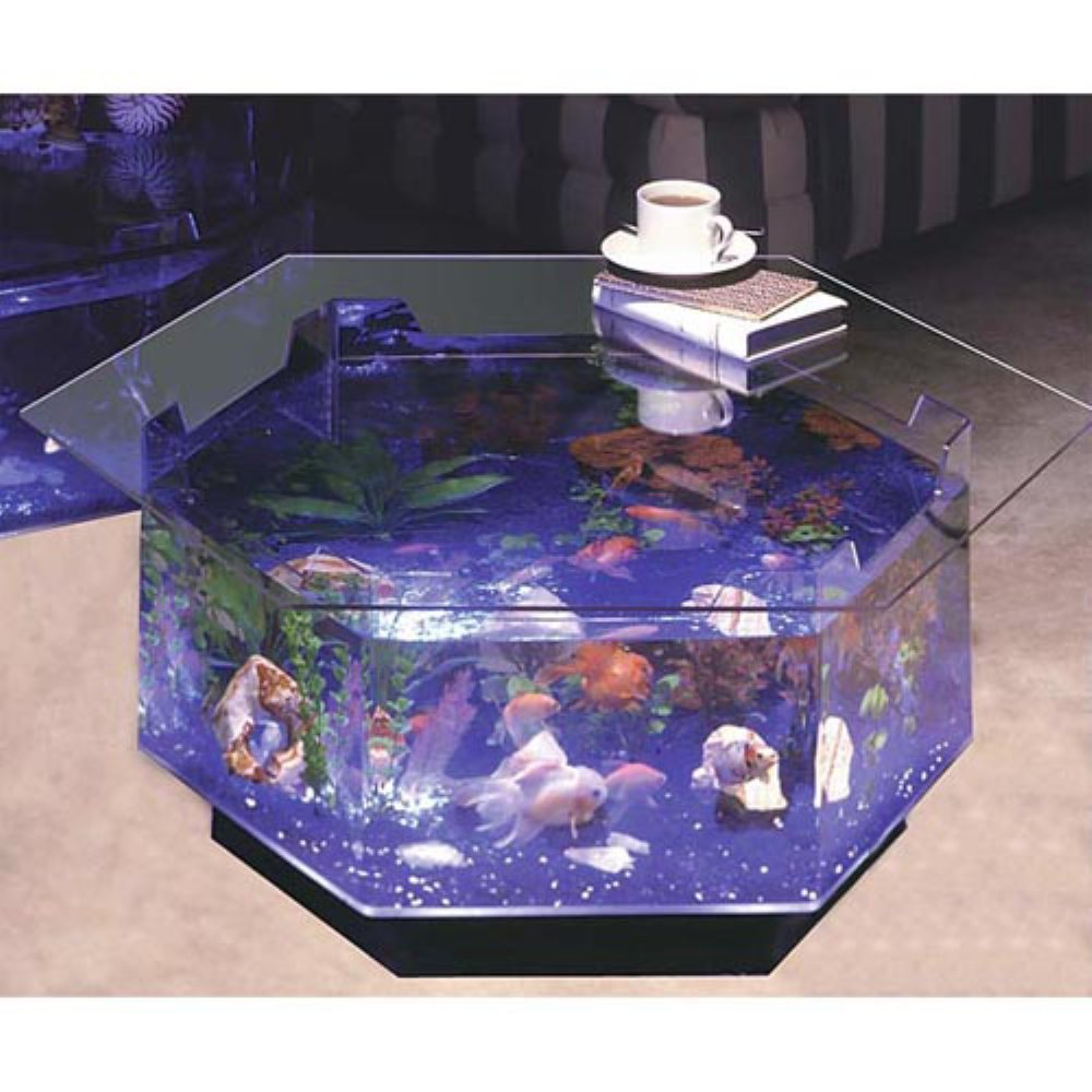 Long Octagon Aquarium Coffee Table 40 Gallon Fish Tank Coffee
