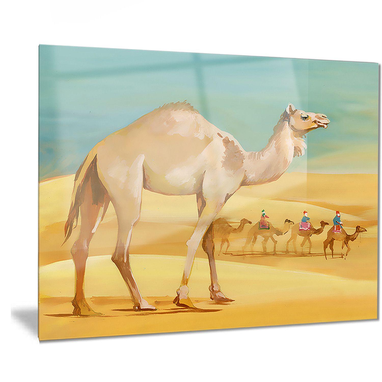 Designart \'Camel Walking in Desert\' Watercolor Animal | Camels ...