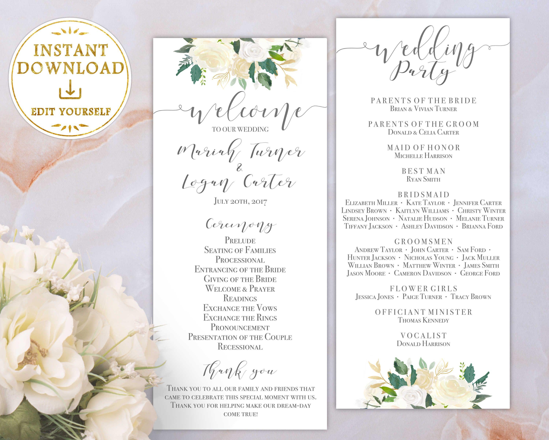 wedding program printable template order of service ivory white