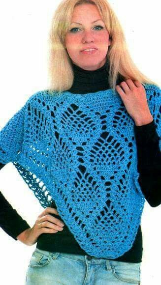 Shawl Ort Poncho blue   Häkeltücher /Crochet shawls   Pinterest