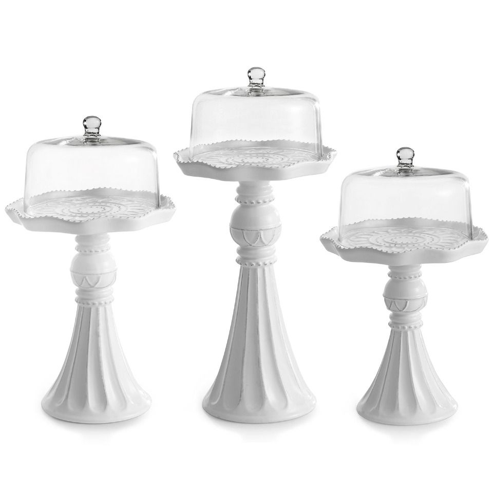 American atelier set of 3 cake pedestals with glass