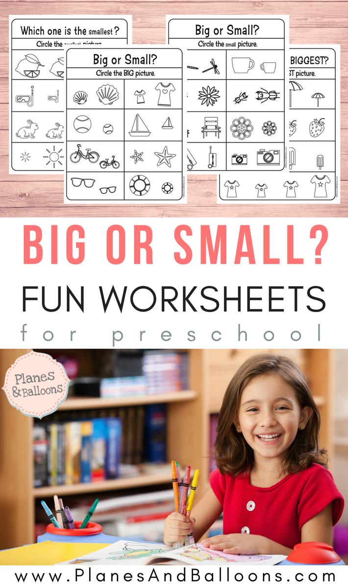 Big And Small Worksheets Size Comparison Planes Balloons Preschool Curriculum Free 3 Year Old Preschool Preschool Activities [ 1200 x 710 Pixel ]