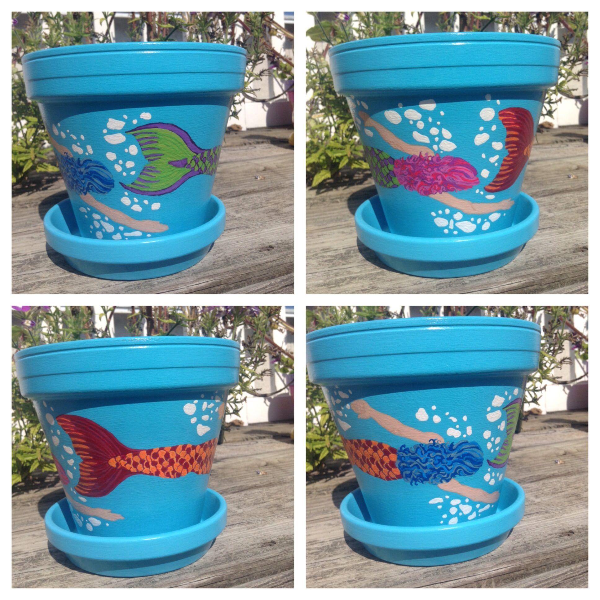 Mermaid Flowerpot By Sheila S Garden Girls Llc In Ocean City Nj Www Etsy Com Shop Sheilasgardengirls Painted Flower Pots Painted Clay Pots Clay Pot Crafts