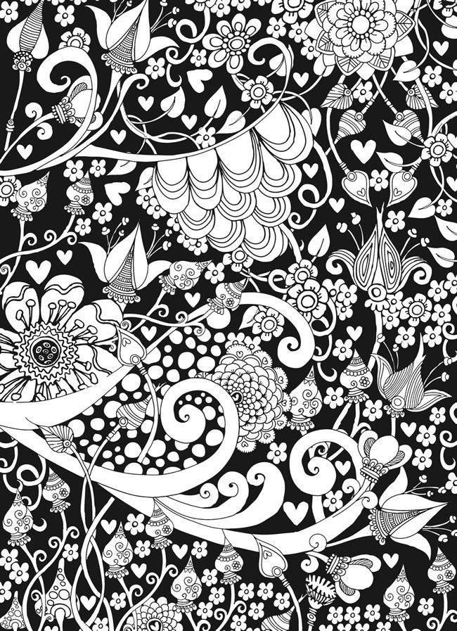 Creative Haven Midnight Garden Coloring Book Heart Amp Flower Designs On A Dramatic Black