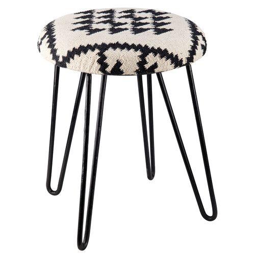 Tabouret en tissu motifs noirs et blancs et métal BASMA