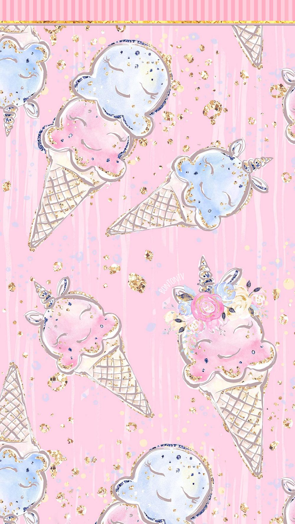 Phone Wallpapers Hd Cute Unicorn Ice Cream Pink Glittery Gold