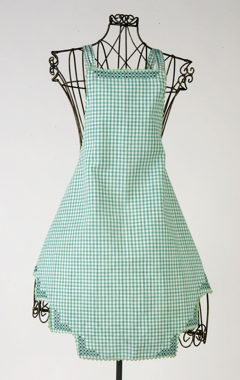Cute gingham apron with hen scratch