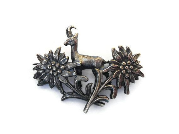 Vintage Sterling Silver Goat Pin , Silver Edelweiss Brooch , Sterling Flower Pin , Silver Ram Figural Pin , Collectors Jewelry