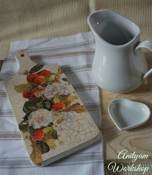 Decorative Wooden Cutting Board lovely schabby by AnityamWorkshop