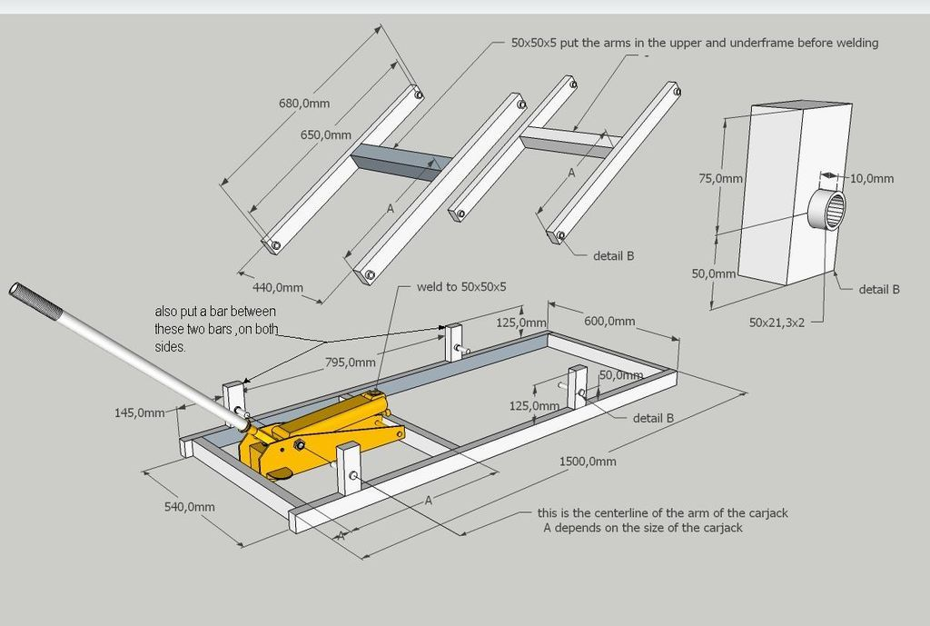 Motorlift arms metals and metal work for Car lift plans
