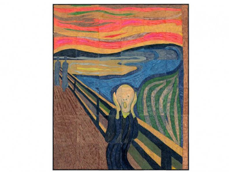 """Munch's Scream Mural. PDF template makes a 45"""" x 55"""" mural when colored and taped together. Just $5 and print as many as you want. #munch #thescream"""