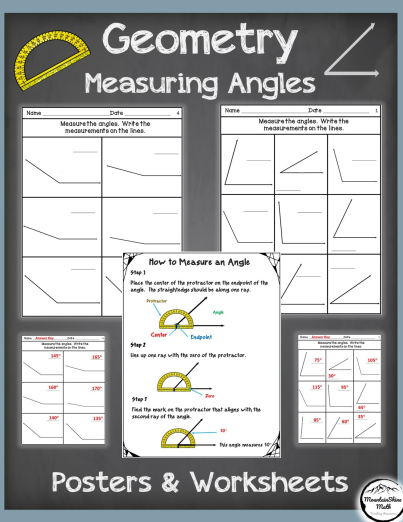Measuring angles, using protractors Worksheets
