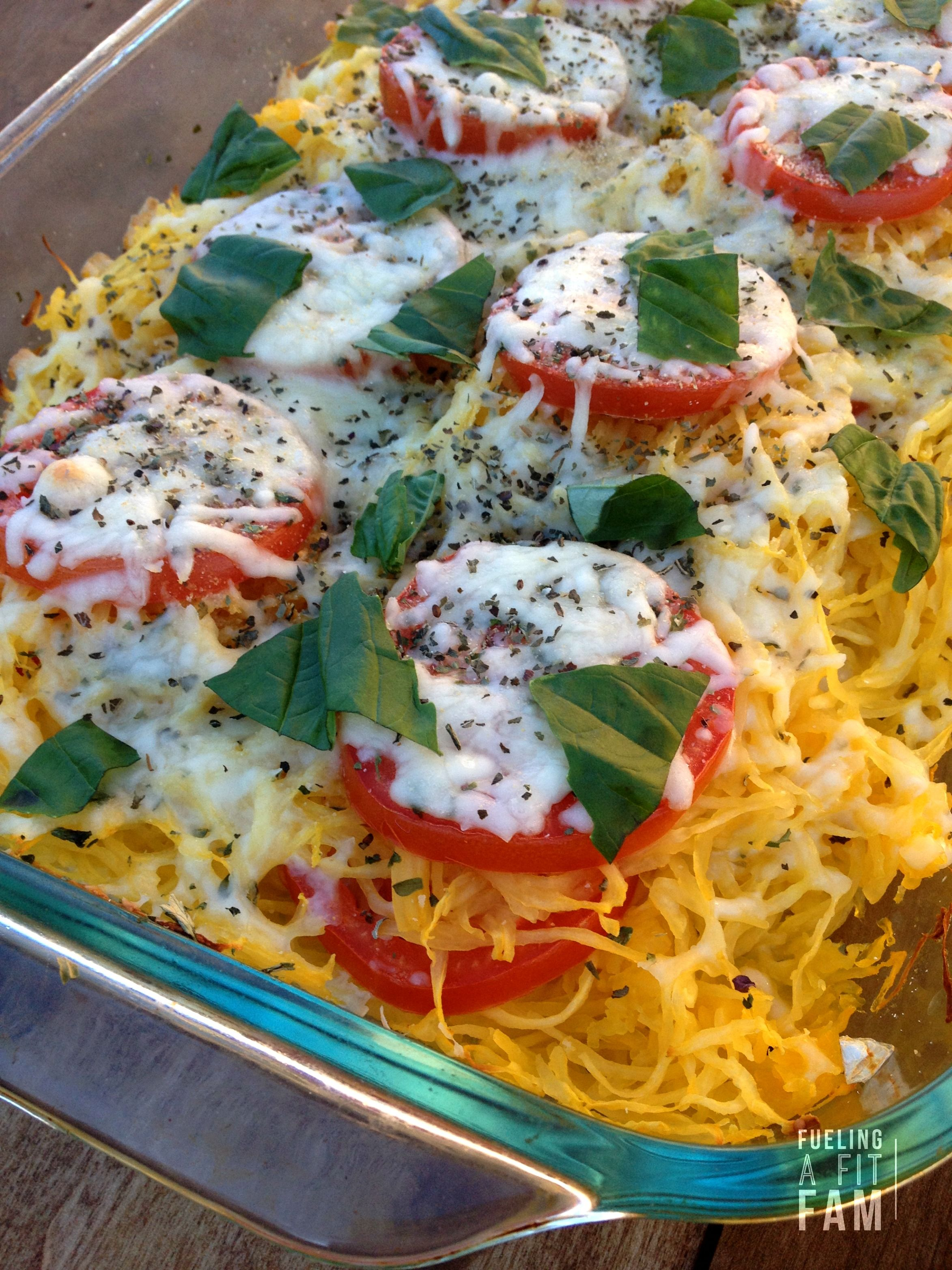 Tomato Basil Spaghetti Squash Bake - Fueling a Fit Fam #spagettisquashrecipes