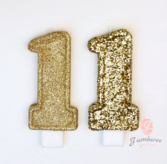 3 Or 5 Glitter Number 1 Birthday Candle Giant By JamboreePartyBox
