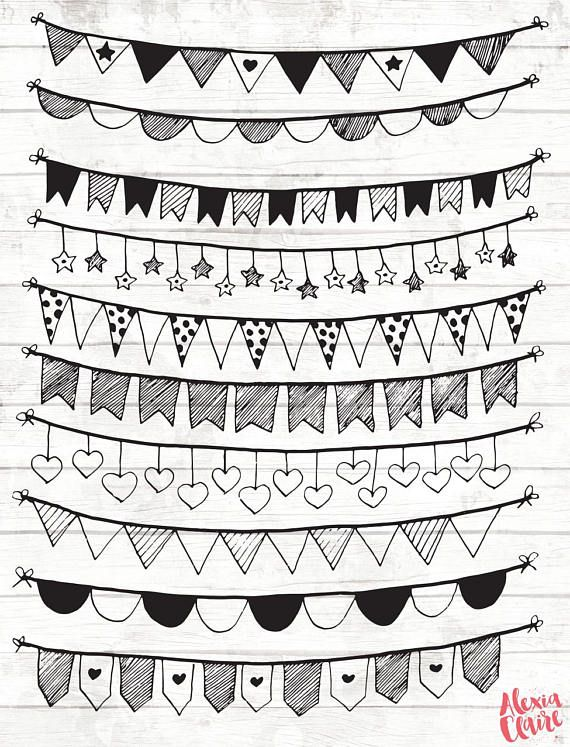 50 Off Bunting Clipart 16 Hand Drawn Bunting Clipart Happy Birthday Drawings Birthday Doodle Happy Birthday Doodles